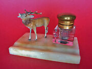 Old Cold Painted Bronze Elk Inkwell Crystal Bottle W/ Brass Lid On Marble Base