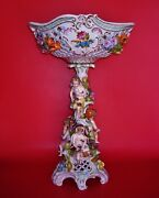 Dresden Reticulated Flower-encrusted Rococo Style Centerpiece Porcelain Basket