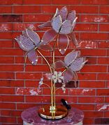Contemporary Laced Bead Flowers With Glass Petals Ok Lighting Brass Table Lamp