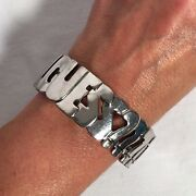 Vintage Guess I Want It All Guess Silver Tone Bangle Bracelet 7 1/2 - 7 3/4