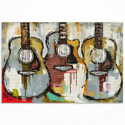 Original Textured Acoustic Guitar Painting On Canvas Guitar Art Made To Order