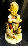 Vintage Old Germany Hummel Girl W/ Chickens  Full Bee / Old Coins