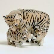 Royal Copenhagen Tiger With Cubs Figurine 4687 By J. Grut
