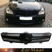 Fit On Benz 04-08 W219 Cls-sedan Full Glossy Black 7c-d Type Tuning Guard Grille