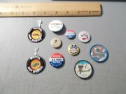 Vintage Lot Of 10 Pins Buttons 2-hot Wheels 2-jello 1-sweet Caporal 1-tony + 4