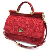 Dolce And Gabbana Dandg Sicily Logo Plate Flower Embroidery Hand Bag Red