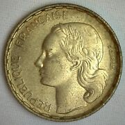 1953 B Aluminum France 50 Francs Coin Au Almost Uncirculated French Rooster Rev