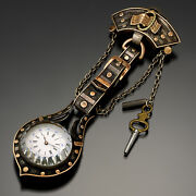 Rare Antique Swiss Watch With Buckle And Belt Design Chatelaine Ca1870s