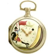 Rare Early Pocket Watch C1800   Painted Military Dial Verge Fusee Swing Out Case