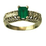 Regal Emerald And Diamond 18k White Gold Vintage Engagement Ring Size 6.5