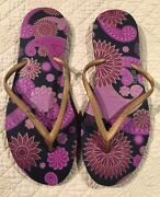 Dupe Flip Flops-womenand039s-size 11.5-gold Purple And Black- Floral Design New