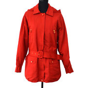 Authentic Vintage Cc Logos Button Long Sleeve Jacket Red 40 A41688b