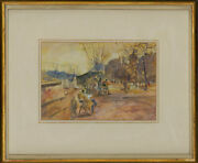 Ronald Olley B.1923 - Framed 20th Century Watercolour Book Stalls