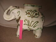 Vintage White Elephant Garden Or Plant Stand Glazed Ceramic Made In Mexico