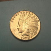 Rare Date 1909-s Gold 10 Indian Head Eagle Coin Bu