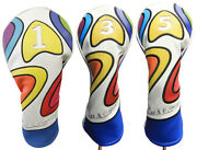 Majek Retro Golf 1 3 5 Driver And Wood Headcover Psychedelic Design Vintage Style