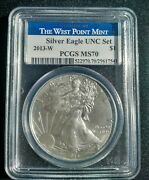2013 W Burnished American Silver Eagle Pcgs Ms70 Aka Sp70 Unc Set West Point