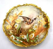 1920's Limoges Porcelain 13 Charger Wall Plaque Plate Wild Game Bird Mk Loeb