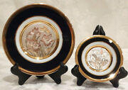 Vintage Pair Of Chokin Collector Plates, 24k Gold, Copper, Silver W/ Stands