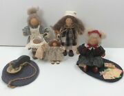 Nice Collection Of 4 Lizzie High Wooden Wood Dolls W/ Accessories See Photos