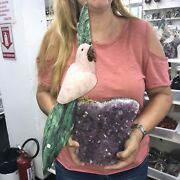 Bird Sculpture Art By Rose Quartz And Zoisite On Amethyst Base