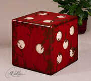 19 W Set Of 2 Dice Accent Table Walnut Wood Cube Distressed Red And White