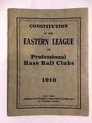 Rare 1910 Constitution Of The Eastern League Of Professional Baseball