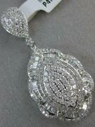 Fancy Pave Diamond 14kt White Gold Marquise Hanging Disc Halo Pendant P46194wp1