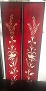Matched Pair Ruby Red Wheel Cut Stained Glass Panels