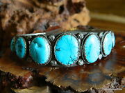 Old Pawn Sterling Silver Multi Turquoise Stampwork Navajo Cuff Bracelet Nice