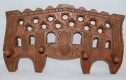 Carved Wood Towel Coat Rack Ornate Wall Plaque W/ 4 Pegs Heavy 13 In. Wooden