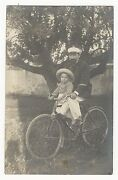 A Father And His Young Son Out For A Bicycle Ride Vintage Real Photo Postcard