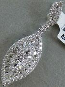 Modern Pave Diamond 14kt W Gold Hanging Marquise Cluster Swirl Pendant Mbp7434w