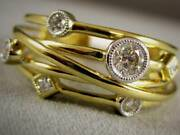 Modern Pave Diamond 18kt Yellow Gold Multi Shape Band Crossover Ring Plrg03734y