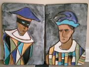 Vintage Mid Century Harris Strong Art Pottery Wall Plaques - Harlequin And Jester