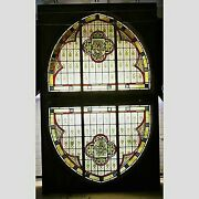 Stained Glass Skylight Church Window Framed Floral Decoration Antique 68 X 108