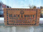Black And White Wood Crate Box Blended Scotch Whisky James Buchanan Vintage Empty