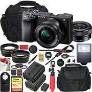 Sony A6400 Mirrorless Camera Ilce-6400l/b 16-50mm Lens Kit + Case And Flash Bundle