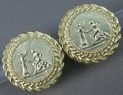 Designer Large 14k Y Gold Round Lady And Gentleman Omega Clip Earrings 22mm 3054.4