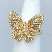 Sonja B Vintage Style 14k Yellow Gold And Diamond Butterfly Cocktail Ring