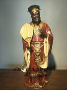Chinese Wucai Porcelain And Pottery Ancient Strategist Zhu Geliang Kongming Statue