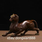 32cm Chinese Zodiac Fengshui Animal Purple Copper Gold Lucky Tiger Wealth Statue