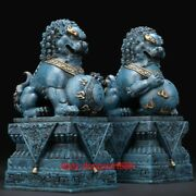 24 Cm Chinese Palace Art Deco Pure Brass Painted Foo Dog Lion Animal Sculpture