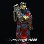 31cm Chinese Bronze Painted God Of Wealth Wealthy Dragon Mammon Treasure Statue