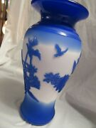 Fenton Camo Vase Kelseybomkamp 13 Bluewhite 10and039and039tall Excellent