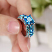 Aquamarine W/accent Cz's-silver Layered Cluster Ring-sz 8 By Costume Jewery King