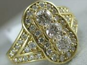 Modern Pave Diamond 14kt Yellow Gold 3 Stone Halo Wide Cocktail Ring 15mm 26r10
