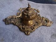 Antique Vintage Hand Made Forged Brass Ink Well Candle Stick Holder