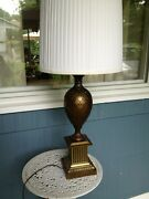 2 Vintage Mid Century Greek Revival Brass Lamps White Pleated Shades
