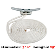 Premium Dock Line 3/4 Dia. 25and039 Long Double Braided White 302119025wh-osm